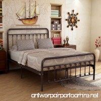 Metal Bed Frame Iron Decor Steel Queen Size Base with Headboard and Footboard Legs Platform Slats Cover Dark Copper 634 (Queen) - B07D637WYQ