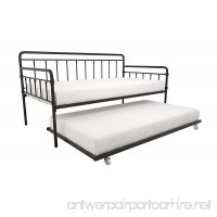 Modern Wallace Daybed with Trundle Bundle  Twin Metal Bed Frame  Slats Support Memory Foam and Coil Mattresses  No Foundation or Box Spring Needed  Mattresses not Included  Black - B07341NBYY