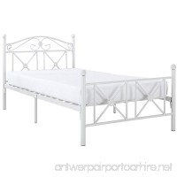 Modway Cottage Iron Metal Platform Bed in White  Twin Size - B008VAUOCK