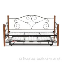 Doral Complete Metal Daybed with Link Spring and Trundle Bed Pop-Up Frame  Matte Black Finish  Twin - B00JVPGPHM