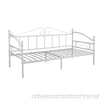 GreenForest Metal Daybed Twin Size with Headboard Metal Slats Support Bed Frame Mattress Foundation (Creamy White) - B07CNQGM85
