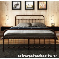 Metal Bed Frame Queen The Simple-Style Iron-Art Double Bed Has The Metal Structure Metal Tube and Antique Brown Baking Paint. Firm and Durability Without Noise.Suitable for Bedroom and in the Hotel … - B07DBRZ65C