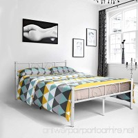 Metal full size bed frame  Yanni ADRINA 10 Legs Platform Metal Mattress Foundation / Box Spring Replacement with Headboard and Footboard  Under-bed Storage  Enhanced Sturdy Slats  White - B075NDJZJT