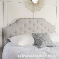 Austell Light Grey Fabric Queen/Full Headboard - B06XR4QBJY
