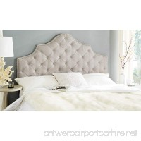 Safavieh Arebelle Taupe Linen Upholstered Tufted Headboard - Silver Nailhead (Queen) - B00OPY7GS6