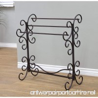 Benzara C482-MTL0016 Scroll Work Blanket Rack Black - B07DTL6N41